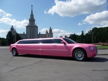 Аренда автомобиля Лимузин Chrysler 300C розовый  с водителем